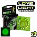 Préservatifs phosphorescents Love Light x3