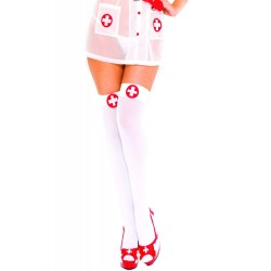 Bas opaque, haut avec une croix dans un rond, infirmière