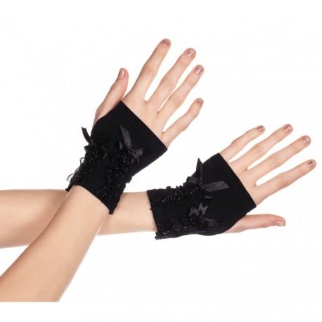 Demi gants avec nœud sur le dessus