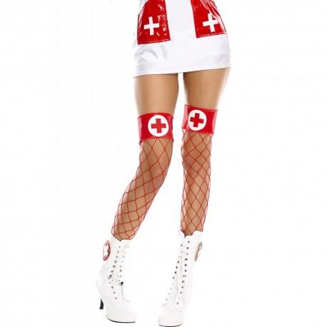 Bas en résille, haut avec croix dans un rond, infirmière