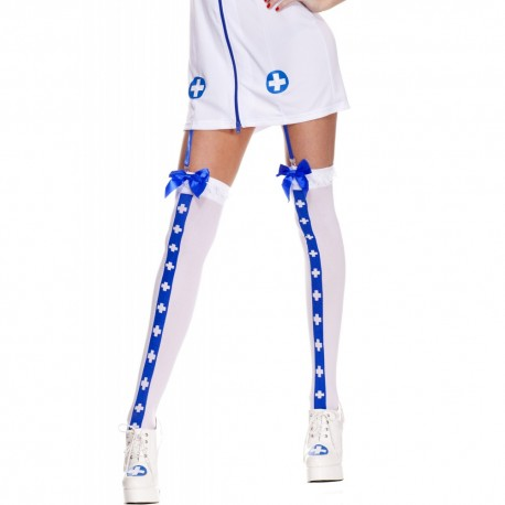Bas opaque, avec bande avec des croix, haut avec un nœud satin, infirmière