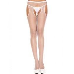 Collant blanc résille échancré entre-jambes et hanches