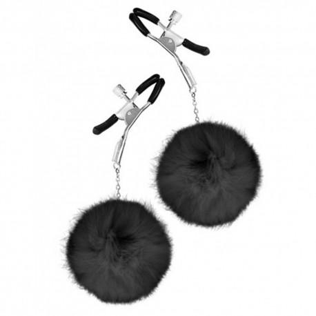 Pinces à seins pression réglable pompons noirs