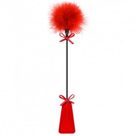 Cravache rouge bdsm avec plumeau