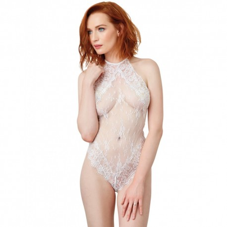 Body blanc style broderie avec dos ouvert