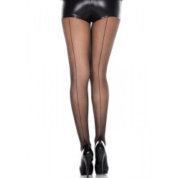 Collant nylon fantaisie noir effet couture