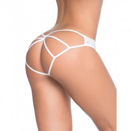 Culotte ouverte blanche ornements façon cage