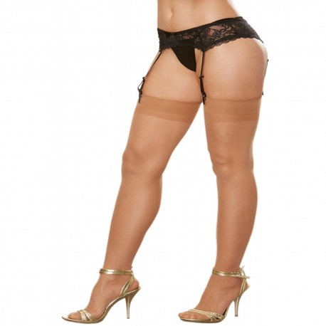 Bas nylon chairs coutures grande taille pour jarretelles
