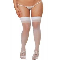 Bas nylon blancs coutures grande taille pour jarretelles
