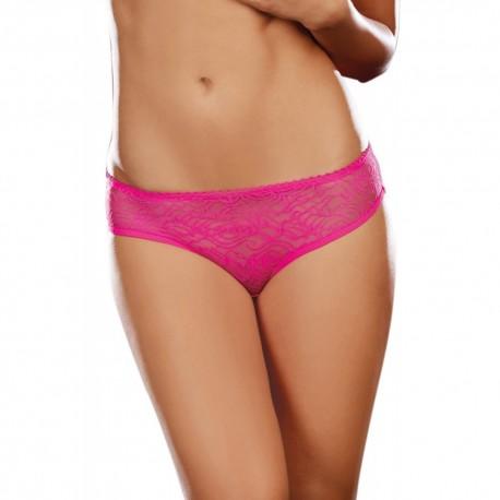 Tanga ouvert rose dentelle avec noeud sur les fesses