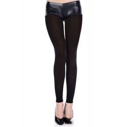 Legging noir fin opaque et uni