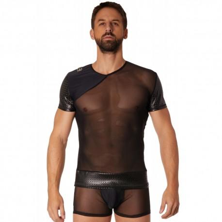 T-shirt noir maille et brillance ajourée