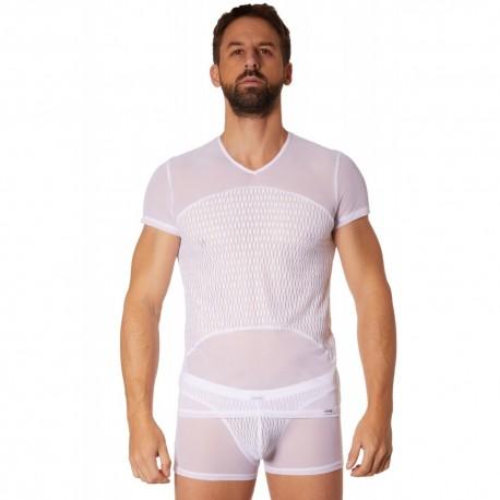 T-shirt blanc maille et motifs