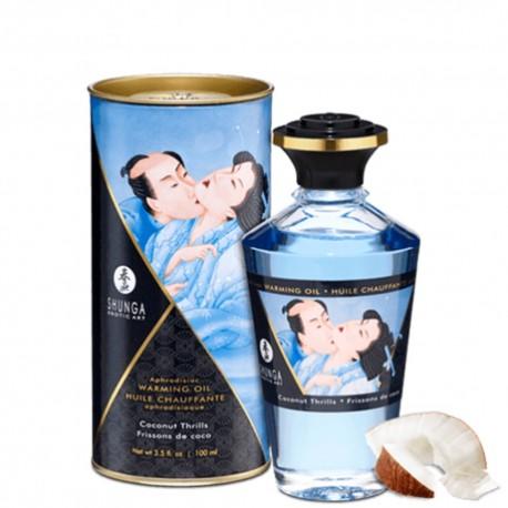 Huile de massage noix de coco chauffante comestible 100ml