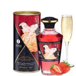Huile de massage fraise chauffante comestible 100ml
