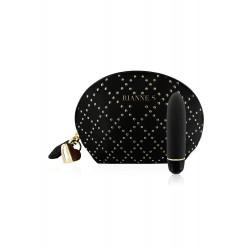 Mini-vibromasseur noir en silicone et sa trousse - E27852