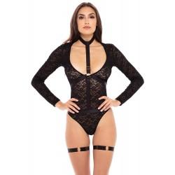 Body dentelle manches longues, harnais et jarretières - REN50019-BLK